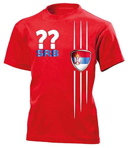 Serbien Wunsch Zahl ohne Name Serbia Fan t Shirt Artikel 3334 Fuss Ball Kinder Kids Jungen Mädchen Unisex EM 2020 WM 2022 Trikot Look Flagge 116