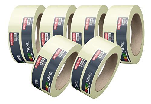 6x Malerkrepp Kreppband Feinkreppband Abklebeband Painty Tape 50 Meter * 38 mm für präzises Streichen & Malerarbeiten
