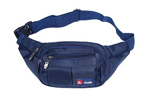 Toudorp Wasserdicht Gürteltasche / Bauchtasche mit 4 Einzeltaschen für Damen, Herren und Kinder, für Outdoor Reise und Laufen Purpurblau