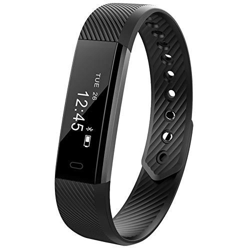 TYESHA Fitness-Tracker, Smart-Armband mit Herzfrequenz-Monitor, IPX7 Wasserdichter Aktivitätstracker, Touchscreen, Schrittzähler, Schlafmonitor, kompatibel mit iPhone Android, Schwarz