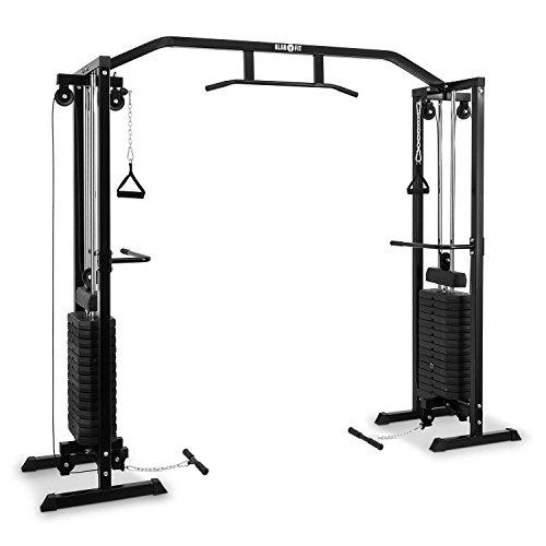 Klarfit Cablefit • zweiseitiger Kabelzug • Kabelzugbrücke • Kabelzugstation • Zwei Türme mit je 170 lb [77 kg] Maximalgewicht • schwarz