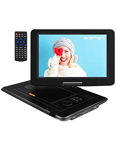 APEMAN Tragbarer DVD Player Auto 15,5'' mit  Eingebautem 6000mAh Portable CD Player 6 Stunden Akku  HD Display Unterstützt SD/USB/AV Out/IN Spiele Joystick(schwarz)