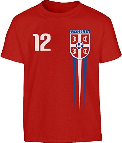 Serbisches Kinder Fantrikot Fanshirt WM18 Kleinkind Kinder T-Shirt - Gr. 86-116 104 (3-4J) Rot