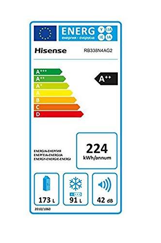 Hisense RB338N4AG2 Kühl-Gefrier-Kombination/A++ / No-Frost/Türanschlag rechts, wechselbar/Edelstahl-Look