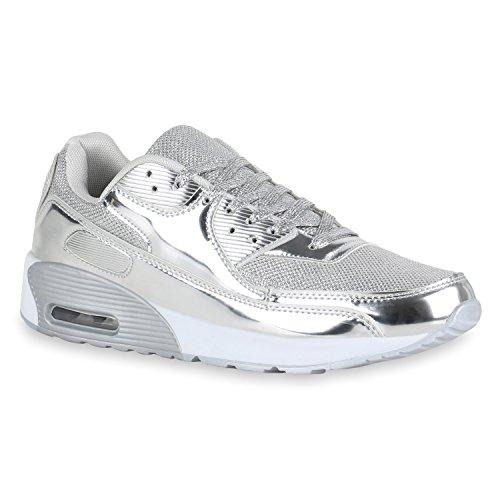 Stiefelparadies Herren Sport Leder-Optik Sneakers Velours Glitzer Metallic Runners Freizeit Schnürer Schuhe 140422 Silber Brooklyn 42 Flandell