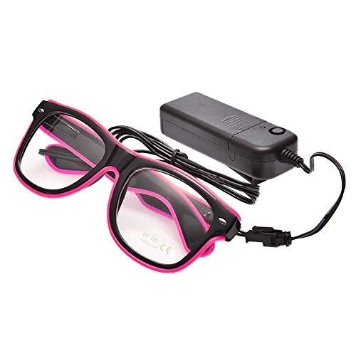 UTOVME EL Leuchtbrille Party Club LED Leuchten Brillen Partybrille Eyeglasses Nicht blendet mit Batterie Box Pink