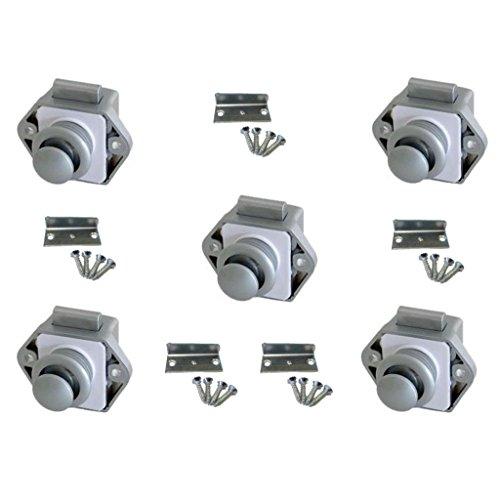 Freizeit Wittke Push Lock Schlösser - Mini - 26mm Rosette+Knopf - 5er Set - Silber