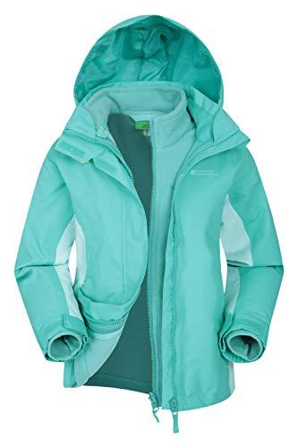 Mountain Warehouse Lightning wasserfeste 3-in-1-Kinder-Jacke - Triclimate-Jacke mit versiegelten Nähten, abnehmbare Kapuze, Fleece-Futter, mehrere Taschen - zum Wandern Blaugrün 104 (3-4 Jahre)
