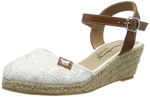 Mustang Damen Keil-Sandaletten Weiß, Schuhgröße:EUR 45