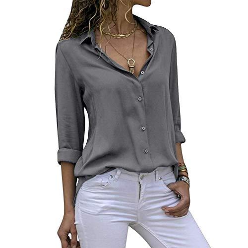 Decai Damen Bluse Chiffon Lässig Chiffonhemd Elegant V-Ausschnitt Langarm Taste Casual Oberteile Hemd Lose Langarmshirt Tops für Frauen Grau 40-42 EU
