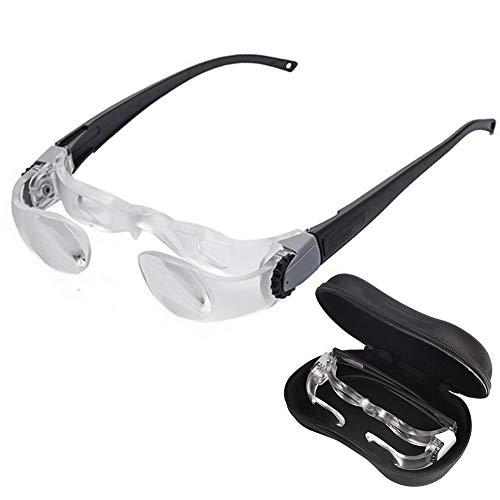 Max TV Fernsehbrille,Lupenbrille- 2.1X,0~-3 Dioptrieneinstellung - Kopfbandlupe Stirnlupe Brillenlupe Für Brillenträger, Lesen, Handwerk, Juweliere, Nähen,Reparatur