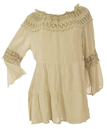 Damen Ibiza Tunika Style Lagenlook Bluse aus 100% Seide Häkel Spitze und Stickerei Longbluse Moda Italy Damen Tunika