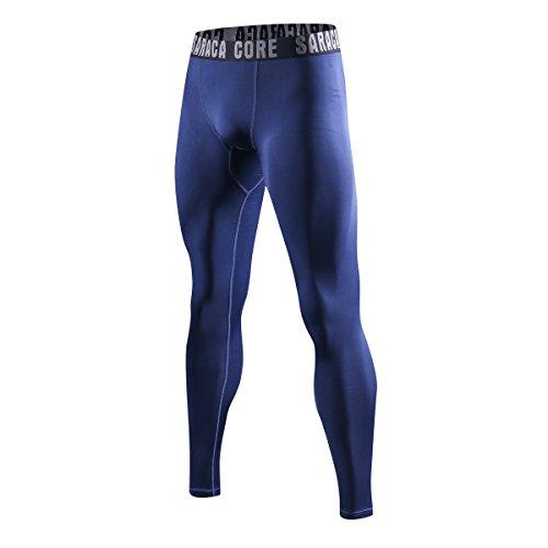 Männer Jungen Herren Lange 3/4 Unterhose Strumpfhose Unterwäsche Fussball Fahrrad Kompressions Fitness Sports Leggings(preußisch blau / mazarine/marokkanische blau, XL)