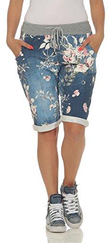 cleostyle Kurze Damen Bermuda, leichte luftige Hose für den Sommer, kurzer Jogger für Freizeit und Strand 9 (Blau)