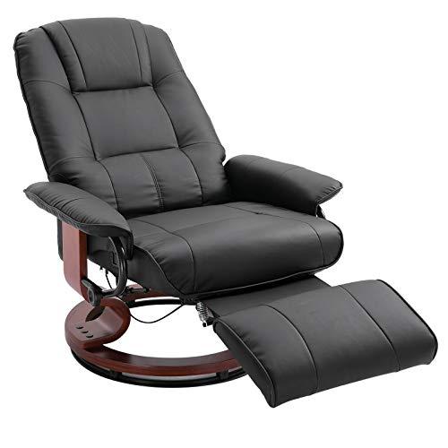 HOMCOM Relaxsessel Fernsehsessel Liegesessel aus Kunstleder 360° Drehstuhl Holzfuß Schwarz 135° neigbar