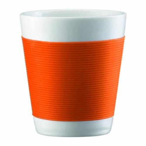 Bodum Canteen Doppelwandiger Becher aus Porzellan, klein, 0,1l, Orange