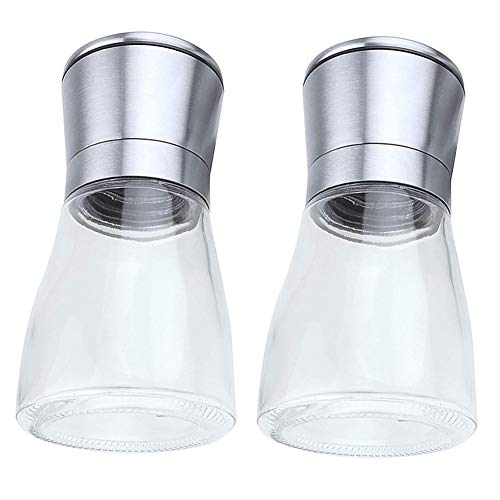 HshDUti 2 Stücke Gewürze Salz Pfeffermühle Glas Manuelle Mühle Jar Home Küche Schleifwerkzeug Transparent