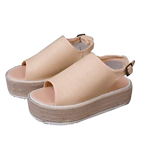 K-Flame Open Toe Sandalen für Frauen Sommer Wedges Plateauschuhe Damen Buckle Slingback Flat Comfy Espadrilles für Outdoor-Reisen,Beige,42