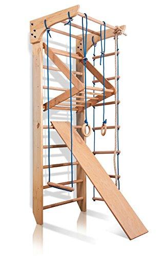 Turnwand Kinder Gym Klettergerüst Kinder-3-220 Holz Sportgerät Kletterwand Sprossenwand mit Stange Fitness - Zertifikat!