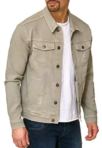 Indicode Herren Bryne Jeansjacke Denim Übergangsjacke mit Stehkragen aus hochwertiger Baumwollmischung Washed-Out Stretch Willow Grey L