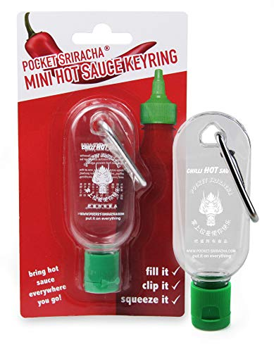 Mini Sriracha Taschen Flasche - Hot Chili Sauce Schlüsselanhänger - Deine Heiße Soße Für Unterwegs - 1 PACK (ohne Inhalt) - 35 ML Kapazität - Für Reisen Wandern Ausflug Camping Feier Party Büro