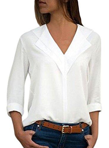 Aleumdr Bluse Kurzarm T-Shirt Damen Oberteile Elegant V-Ausschnitt Blusen Einfarbig Sommer Locker mit Knopfleiste Tunika mit Knopf Bluse einfarbig Weiß L