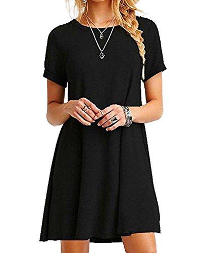 YOINS Sommerkleid Damen Tunika Tshirt Kleid Bluse Kurzarm MiniKleid Boho Maxikleid Rundhals Schwarz EU36-38, M