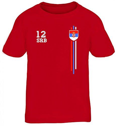 Serbia Soccer World Cup Fussball WM Fanfest Gruppen Kinder T-Shirt Rundhals Mädchen Jungen Streifen Trikot Serbien, Größe: 110/116,Rot