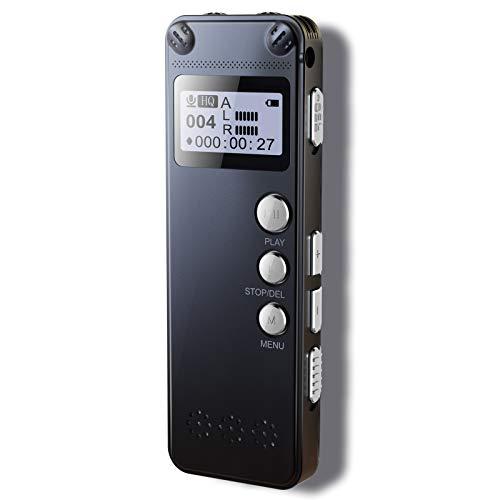 LaHuko Digitales Diktiergerät, Metalldesign, 1536 kbps hohe Aufnahmequalität, 8 GB, Rauschunterdrückung, MP3, automatisch aktivierter, aufladbarer Akku, geeignet für Meetings, Vorträge, Interviews