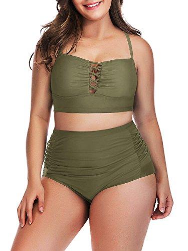 ClasiChic Verstellbare Träger Hoher Taille Badeanzug Verband Bikini Set Retro Bademode Plus Size, Armee Grün, EU54=Tag Size 4XL