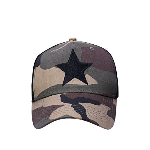 Trucker Cap Camouflage Star Baseball Kappe Mütze Camo Snapback OneSize einstellbar LA Los Angeles US Style Einheitsgröße Tarn Army USA Herren Damen Designer California Fashion Black Star