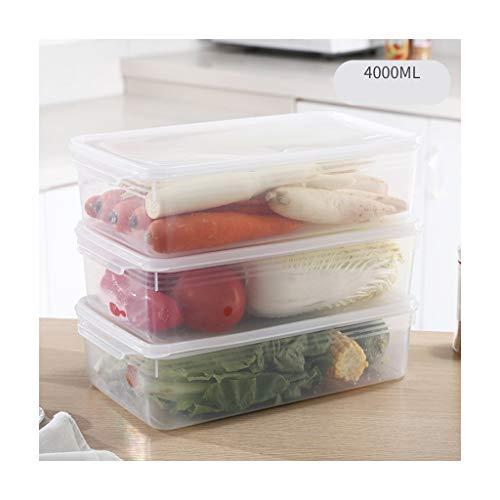 Wmy max Lebensmittelkonservierung Vorratsbehälter Mit Deckel Kühlschrank Aufbewahrungsbox Rechteckige Gefriertruhe Küche Aufbewahrungskombination Set (Color : G 4000ml)