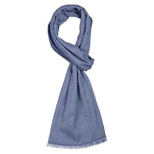 ROYALZ Schal für Herren kariert klassisch Herrenschal weich leicht dünn Karo Muster oder gestreift Halstuch Männer-Schals Accessoires mehrfarbig - ganzjährig tragbar, Farbe:Navy Blau/Weiß
