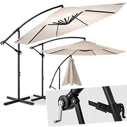Kesser® Alu Ampelschirm Ø 300 cm ✔mit Kurbelvorrichtung ✔UV-Schutz ✔Aluminium ✔Wasserabweisende Bespannung - Sonnenschirm Schirm Gartenschirm Marktschirm Beige