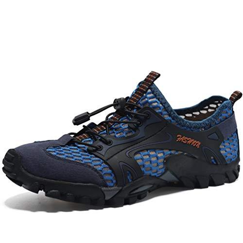 FLARUT Herren Sommer Trekking Sandale Wanderschuhe Super Atmung Draussen Hiking Schuhe Mesh Vamp Wasserschuhe Sport Laufen Klettern (40EU, Blau)