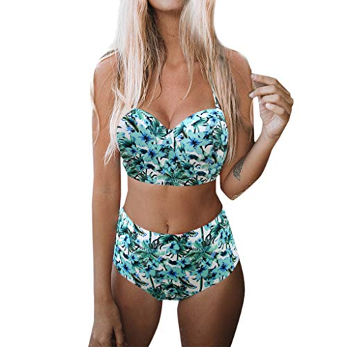 QingJiu Damen Gepolsterter Push-Up-BH Hight Waist Bikini Set Badeanzug Badeanzug Bademode(Minzgrün,XX-Large)