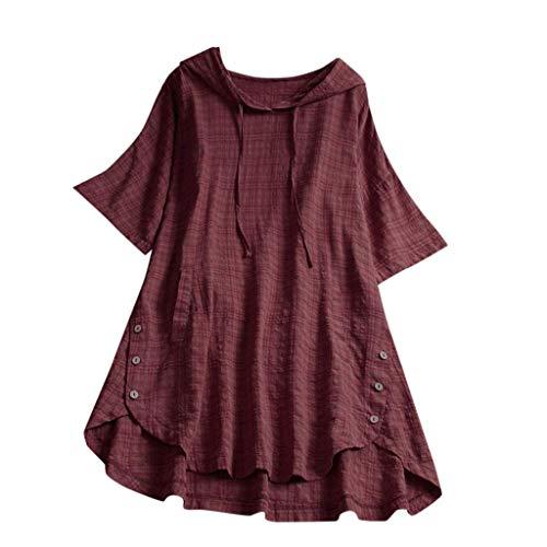 QIMANZI Übergröße Damen Lange Ärmel Kaftan Ausgebeult Taste Bettwäsche aus BaumwolleTunika Bluse(Rot,2XL)