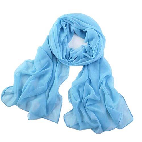 YEBIRAL Damen Schal Ganzjährig Chiffon Einfarbig Super Weich Deckenschal Halstuch(Azure Blue)