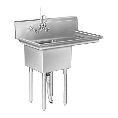 Royal Catering - Spültisch Spülbecken (1 Becken, 60 x 100 x 110 cm, 20 cm Aufkanterung, 30 cm Beckentiefe, Edelstahl) Silber