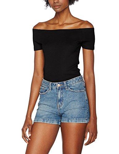 Urban Classics TB1500 Damen T-Shirt Ladies Off Shoulder Rib Tee Schwarz (Black 7), Small