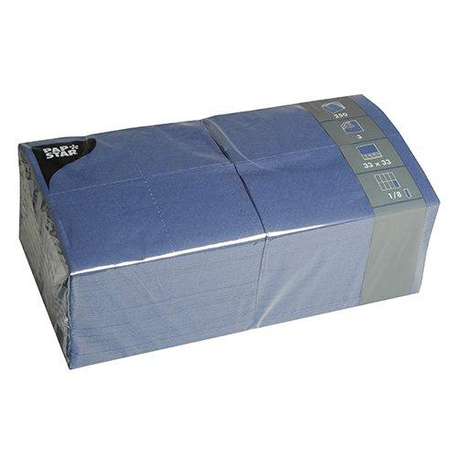 Papstar Servietten / Tissueservietten dunkelblau (250 Stück) 33 x 33 cm, 3-lagig, 1/8-Falz, für Gastronomie, Haushalt und Feste, #84576