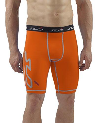 Sub Sports Herren Dual Kompressionsshorts Funktionswäsche Base Layer Hose kurz Orange, M