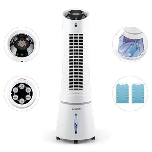 Klarstein Skyscraper Ice 4-in-1 Klimagerät Version 2019: Ventilator + Luftkühler + Luftbefeuchter + Ionisator (3 Betriebsmodi: Normal, Nacht und Natur, 45 Watt sparsam, 500 m³/h Luftdurchsatz) weiß