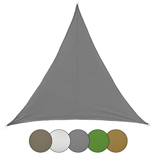 BB Sport Sonnensegel dreieckig in verschiedenen Größen und Farben Sonnenschutz 100% PES Sichtschutz Windschutz Tarp, Farbe:Granit, Größe (Fläche):3m x 3m x 3m