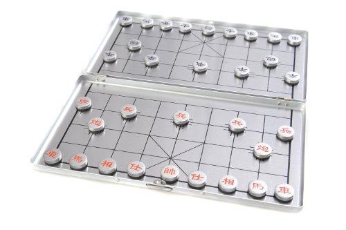 Quantum Abacus Azerus Alu Line: Xiangqi - in Aluminium-Box, Reiseset mit magnetische Spielsteinen, Spielbrett 18cm x 16cm x 0,5cm (XY024P DE)