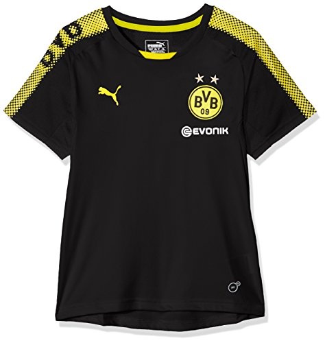 PUMA Kinder BVB Training Jersey with Sponsor Logo T-Shirt, Black-Cyber Yellow, 152