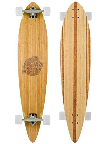 'Die Chuck' 44in Pintail Bambus Serie Premium Skateboard Longboard, White wheels