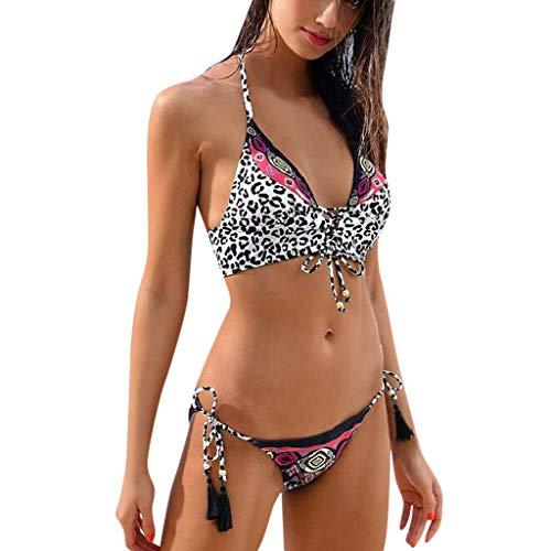 AMUSTER Sexy Strand Damen Bikini mit Quaste Set Bademode Badeanzüge Bikinis für Frauen Mädchen Leopardenmuster Verband Bikini-Set Brasilianische Badebekleidung