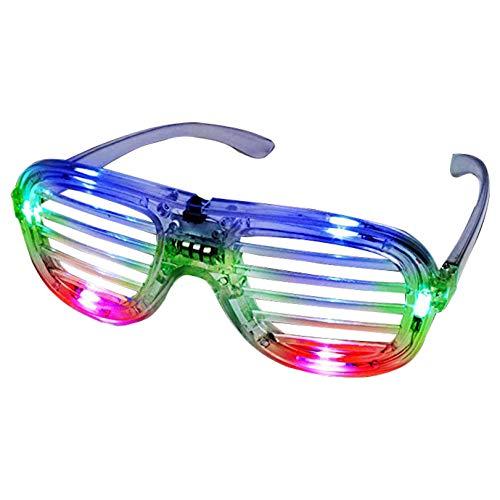 NEO+ Mehrfarbige LED-Brille, Partybrille, Shutter-Design, Blinkend, Blinkend