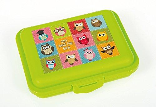 Christliche Geschenkideen °*Snack Box Eulen (grün)